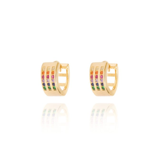 Argola Media 3 Fileiras Zirconias Rainbow Ouro