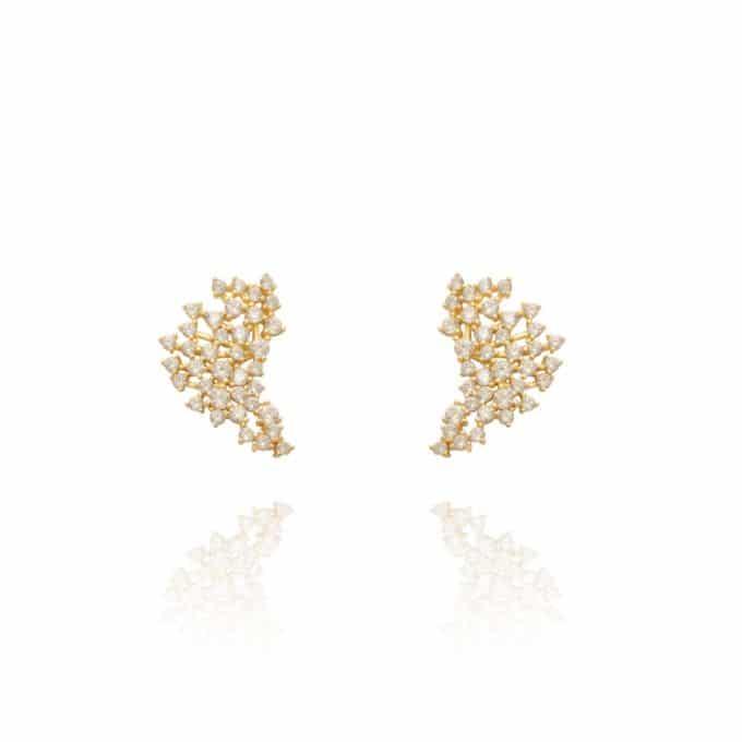 Brinco Ear Cuff Zirconias Brancas Ouro