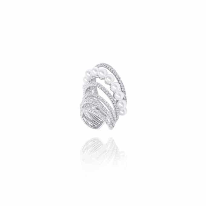 Fake Piercing 5 Argolinhas Zirconias Brancas e Pérolas Prata