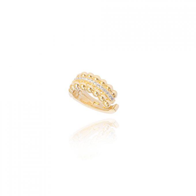 Fake Piercing Bolinhas Zirconias Brancas Ouro
