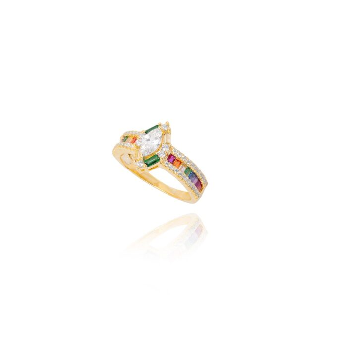 Anel Baguetes Rainbow Ouro