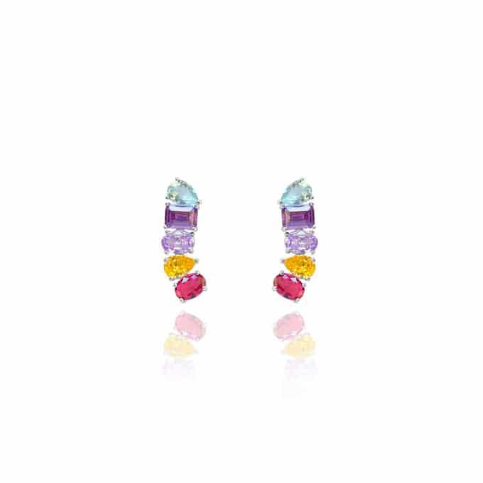 Brinco Ear Cuff 5 Formatos Rainbow Prata