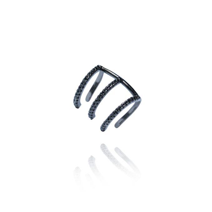 Fake Piercing 3 Argolas Zirconias Negras Rodio Negro